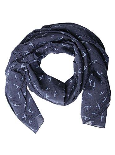 Zwillingsherz Seiden-Tuch mit Sylt Print - Hochwertiger Schal für Damen Mädchen - Halstuch - tuchschal - Loop - Schlauchschal - weicher Damenschal für Sommer Herbst und Winter Frühling navy