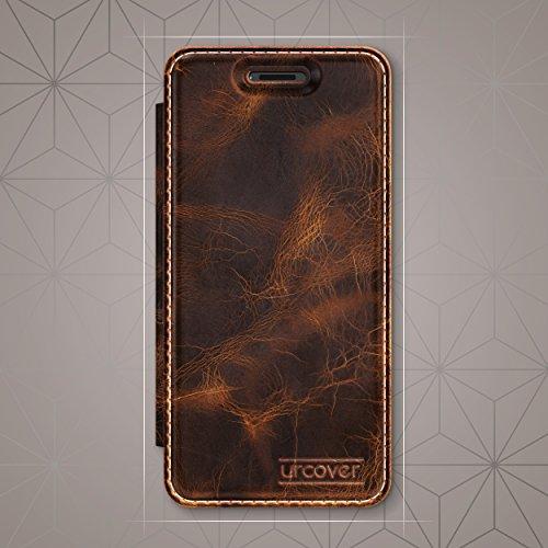 Urcover® Apple iPhone 6 Plus / 6s Plus Handy Schutz-Hülle – ECHT LEDER Tasche – [Handgefertigt] Bookstyle Flip Case Cover mit Kartenfach | Transparente bruchsichere Schale - Rundum-Schutz Zubehör Farb Dunkel Braun