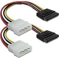 DeLOCK corriente adaptador 4pin a S-ATA 15pin 12cm cable Cable de alimentación interno 1x 4pines macho a 1x 15pines 0.12m/SATA + SATA III 6Gbps Cable 50cm rojo