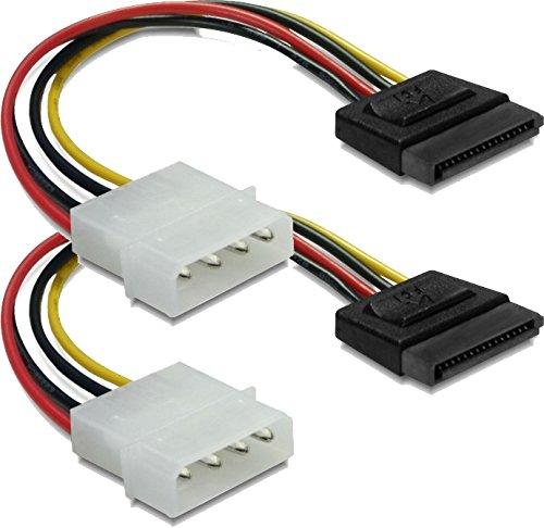 Preisvergleich Produktbild 2x DeLock Stromadapter 4pin auf S-ATA 15pin 12cm Kabel Netzkabel intern 1 x 4 pol Stecker auf 1 x 15 pol / SATA Stecker 0.12 m