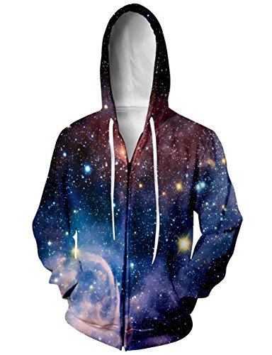 BFUSTYLE Unisex Galaxy Nebula Zip Up Hoodie All Over Print Jacket Sweatshirt 2016 style-Galaxy 2