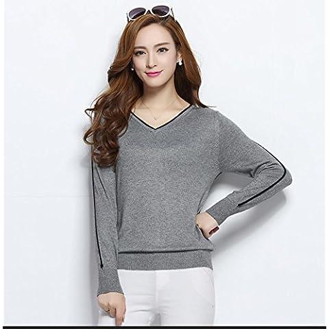 WZH Cachemira suelta todo partido cuello v manga larga jersey camisetas punto de mujer , xl , gray