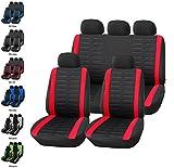 Upgrade4cars Set Completo di Coprisedili Universali per Auto di Prima Qualita in Nero Rosso / Fodere Sedili Universale del tutto Anteriori plus Posteriori / Coprisedile auto / Comodo Adattabile