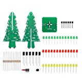 Thinary Electronic DIY 3D Xmas Tree Soldering Practice Electronic Science Assemble Kit 3 Color Flaming LED PCB Solder Tool Circuit Kit Electronic Fun Suite