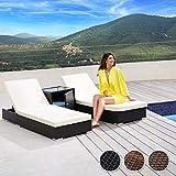TecTake 2X Aluminium Polyrattan Sonnenliege + Tisch Gartenmöbel Set - inkl. 2 Bezugsets + Schutzhülle, Edelstahlschrauben - Diverse Farben - (Schwarz (Nr. 401500)) - 2