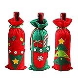 AYUBMR 3 Stück Weinflaschen Abdeckungen Weihnachtsdekoration, Weihnachtswein Flaschen Tasche Weihnachten Dinner Dekoration für Weihnachten und Neujahrsparty
