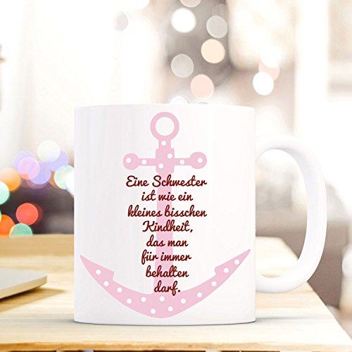 ilka parey wandtattoo-welt Tasse Becher mit Anker & Spruch Schwester Kindheit. Geschenk Kaffeebecher Spruchtasse mit Motto Zitat ts562