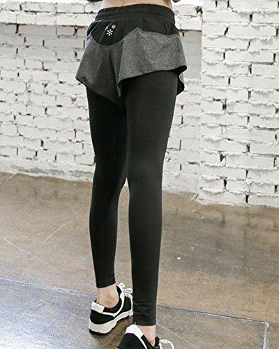 Pantalon Sport Femme Leggings Yoga Stretch Pour Gym Fitness Gris