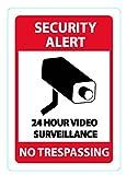 Cartello e adesivo di Videosorveglianza 24 ore su 24 di Wasserstein (in Alluminio, 7'x10', CCTV)