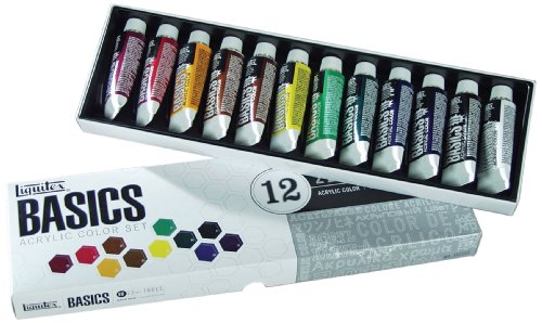 Liquitex 101012 Basics Studio Acrylfarbe, 12 Farben in 22 ml Tuben aus hochwertige und beständige Pigmente, sehr deckende Farben, ausgezeichnete Lichtbeständigkeit, wasserfest -