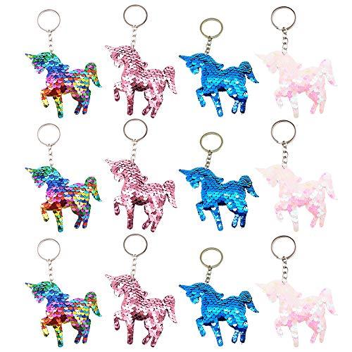 QearFun Personalisierte Einhorn Schlüsselanhänger für Frauen Flippy Sequin Rainbow Schlüsselanhänger Frauen Handtasche Anhänger Geschenke für Kinder, Mädchen Party Tasche Füllstoffe