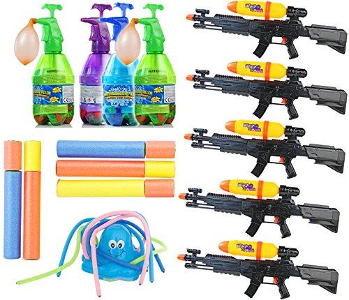 Preisvergleich Produktbild 30 Grad MEGA SOMMER Wasserschlacht SET Wassergewehr Wasserpistole Wasserbomben Rasensprenger