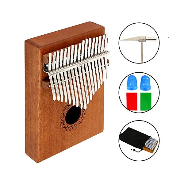 17 Key Thumb Piano Kalimba Solid Finger Piano High Quality Mahogany Professional Mbira Instrument with Portable Case and Thumb Protection for Music Lover Beginners 51w8wa8LiUL