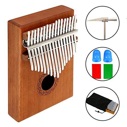 Kalimba Klavier mit 17 Tasten, solider Finger, Klavier, professionelles Mbira-Instrument mit tragbarem Koffer
