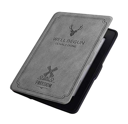 CAZCASE Deer Pattern PU Leather Folio Flip Case Cover for Amazon Kindle Paperwhite 2012, 2013, 2014, 2015, 2016 300 PPI (Grey)
