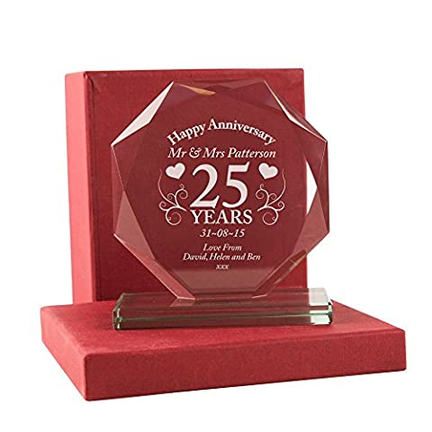 25th Wedding Anniversary Gift, Personalised Glass Silver Wedding Award with