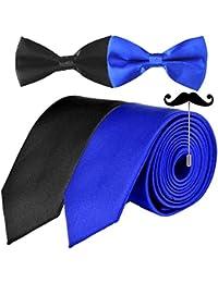 Sorella'z Black & Royal Blue Neckties with Bow & Moustaches Lapel for Mens