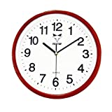 Foxtop 12 pollici imitazione di grano di legno silenzioso orologio da parete senza orologi con numeri arabi chiari (rosso)