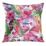 Trsdshorts Throw Pillow Cover Colorful Alcohol Vintage Watercolor Pattern Red Wine in The Glass of Figure Executed on White Splash Decorative Pillow Case Home Decor Square 18x18 Inches Pillowcase