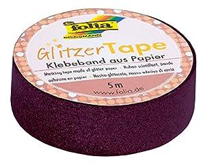 Folia 28102-Purpurina Tape Rosa, Aprox. 5m x 15mm