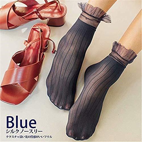 SUNMUCH Mädchen Organza Multi Rüschen Top Fußkettchen Socken Mädchen Socken Spitze Top Fußkettchen Socken dunkelblau -