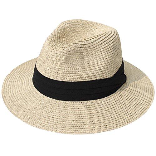 00e8a41b DRESHOW Mujeres de ala ancha Straw Summer Panama Roll up Sombrero Fedora  Beach Sun Hat UPF50