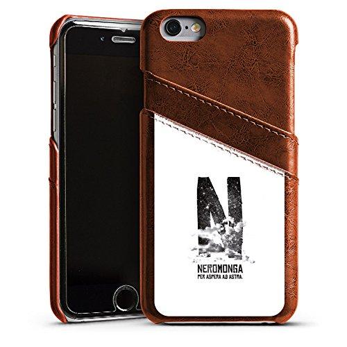 Apple iPhone 5s Housse Étui Protection Coque Nuages Noir Blanc Étui en cuir marron