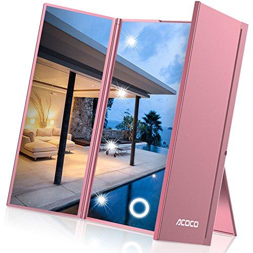 LED Plegable Espejo, 3 Pliegues Espejo con 8 Luz , Plegable Espejo Cosmético con luz,  Espejo de Afeitar con luz, Espejo de maquillaje pequeño, Bolsa Maquillaje Plegable para Viajes.(Oro rosa)