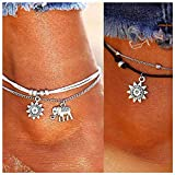 Boho Anklets,Lucbuy Ankle Bracelets Blue Starfish Turtle Multi-Layer Charm Beads Beach Handmade Anklet Foot Jewelry Gifts for Women Girls