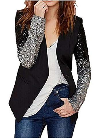 HENGSONG Blazer Longue Manches Argent Gradient Noir Femme Manteau Jacket Mince Suit Veste Coton (L)