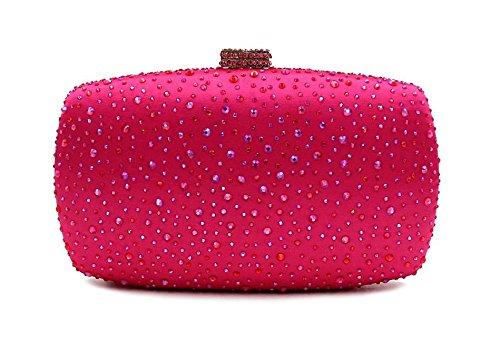 WYB Frau Luxus Strass Abendtasche / Clutch gehobenen / Kristall-Diamant-Abendtasche rose red