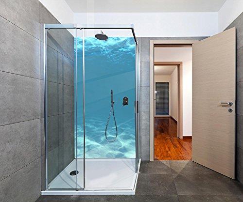 duschwand plexiglas wandmotiv24 Duschrückwand Hellblau unter Wasser Duschwand Design 100 x 200cm (B x H) - Plexiglas 3mm, Fugen