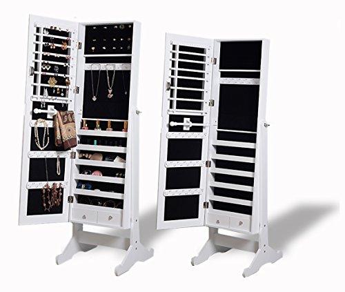 Intirilife–Espejo-Joyero-de-Pie-con-Cerradura-2-Cajnes-y-Ganchos-para-Collares-Pendientes-Bisuteras-Tamao-146-cm-x-41-cm-x-365-cm–Terciopelo-Caja-de-Exhibicin-Display-Bandeja-Expositor-Maquillaje-Co