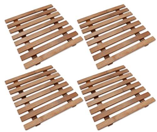 Lot 4 sous-verres Dessous de Plat Bambou 175 mm