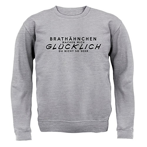 Brathähnchen machen mich glücklich - Unisex Pullover/Sweatshirt - 8 Farben Grau Meliert