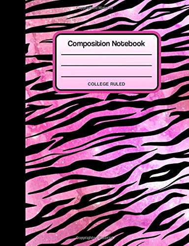 Composition Notebook: Pink Tiger Stripes Galaxy Animal Print College Ruled Composition Book, Notebook, or Journal for Students or Teachers Pink Tiger Stripe