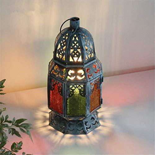 Lampe de bureau Creative Vintage Ouverture Fenêtre Design Multicolore Verre Ajouré Bleu Fer Forgé Antique Lanterne Lampe De Table E27 avec Interrupteur à Bouton pour Bureau Bureau Chambre Lampe