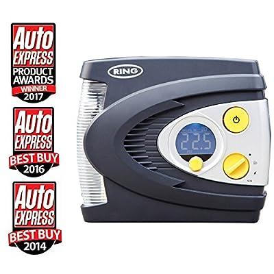 Ring RAC635 Preset Digital Tyre Inflator, Air Compressor Tyre Pump, 3 Min Tyre Inflation, LED Light, Carry Case, Valve Adaptors, 12V