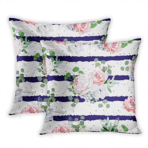 Nekkzi Cushion Covers Set of Two Print Navy Striped with Bouquets of Rose Peony Anemone Brunia Flowers and Eucalyptus Sofa Home Decorative Throw Pillow Cover 18x18 Inch Pillowcase Hidden Zipper - Old Navy Striped-shorts