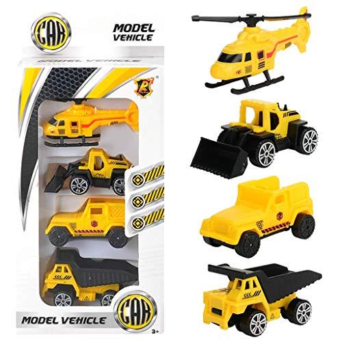 Omiky 4 Stücke Auto Modell Kits Mini Baufahrzeuge Hand Schiebe Unisex Casual Groß Schule Belohnung Preise, Karneval und Veranstaltungen für Kleinkinder Kinder Jungen Mädchen Geschenk