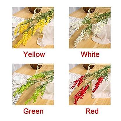szlsl88 Flor Artificiales Plástico Decoración Escritorio Acacia Judía Rama Fiesta Duradero Falso Regalo Romántico Paquete Ramo Hogar Boda (Amarillo)