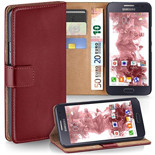 Echt Leder Buch Tasche (Samsung Galaxy A5 (2015) Hülle Dunkel-Rot mit Karten-Fach [OneFlow 360° Book Klapp-Hülle] Handytasche Kunst-Leder Handyhülle für Samsung Galaxy A5 2015 Case Flip Cover Schutzhülle Tasche)