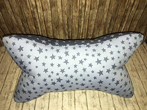Wunschname Leseknochen Nackenstütze Nackenrolle Buchstütze Relaxing Neck Pillow Tabletstütze Lagerungskissen Sterne blau Pünktchen