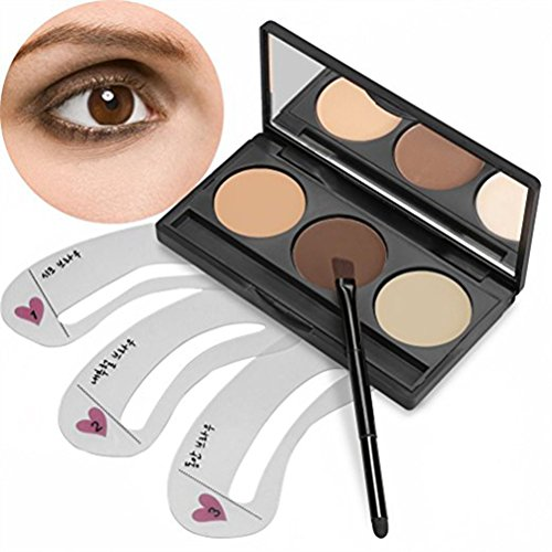 Frcolor Make Up Augenbrauen Kit 3 Farben Eyebrow Powder mit 3pcs Make-up Augenbrauen Schablonen Make-up Augenbraue Palette Kosmetik Tool (Wachs Puder,)