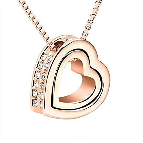 Dual Heart Pendant Charm Necklace Artificial Crystal With Free Gift Box Chain for Women Length 45 CM - Rose Golden