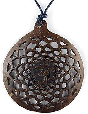 ISLAND PIERCINGS Halskette Anhänger aus Holz Blume des Lebens längenverstellbar N302