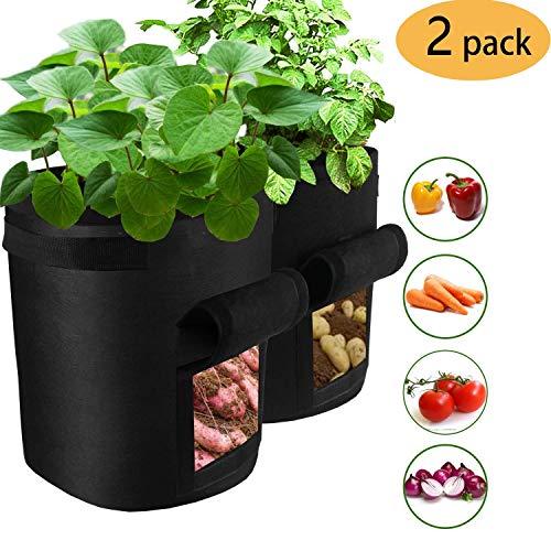 Sinwind 2 pcs 7 Gallone Pflanztasche Kartoffel Pflanzbeutel Vliesstoff Pflanzsack Pflanzen Tasche mit Fenster/Klettverschluss/Tragegriffen kann Gemüse, Kartoffeln, Karotten und so weiter anbauen.