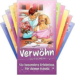 Verwöhngutscheine von VULAVA® + Gratis Online-Handbuch mit 100 Verwöhnideen - die Liebesgutscheine mit 12 romantischen Erlebnissen sind das Geschenk für Frauen Männer Freundin Freund und Paare