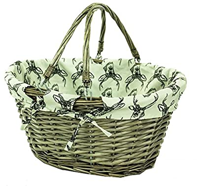 east2eden Brown Wicker Willow Shopping Hamper Basket with Stag Liner In Choice of Deals