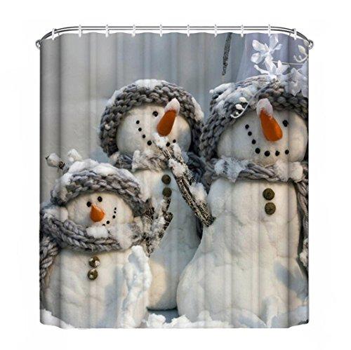 Zolimx Weihnachten Wasserdicht Polyester Bad Duschvorhang Dekor mit Haken (K)